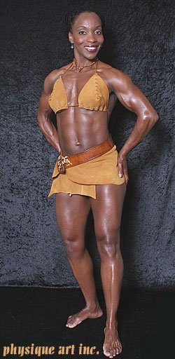 Amazon body builder in Leather bikini!